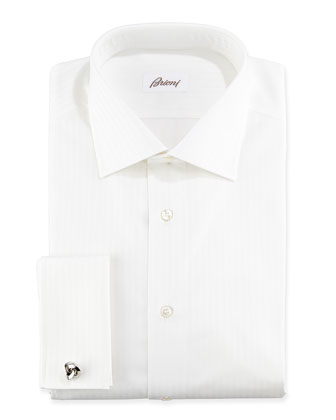 Raised Stripe French Cuff Dress Shirt, White on White