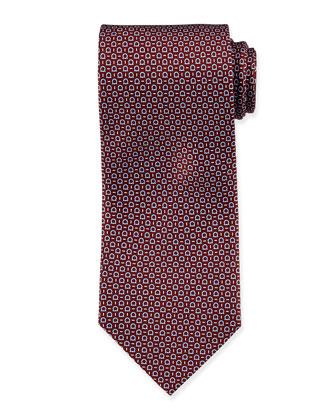 Gancini-Print Silk Tie, Bordeaux