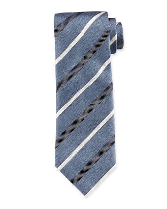 Striped Chambray Silk Tie, Light Blue