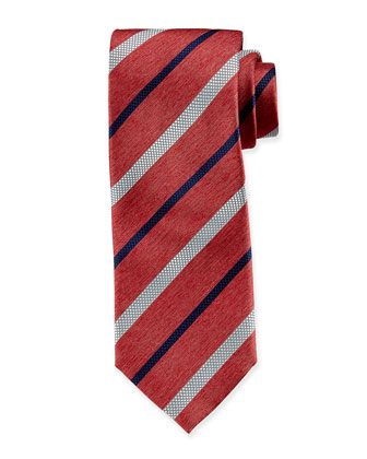 Striped Chambray Silk Tie, Coral