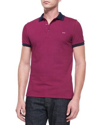 Tipped Pique Polo Shirt, Fuchsia
