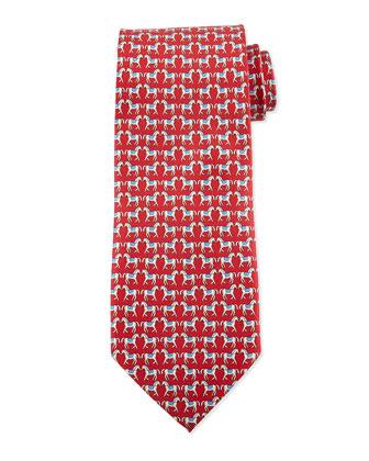 Horse-Print Silk Tie, Red