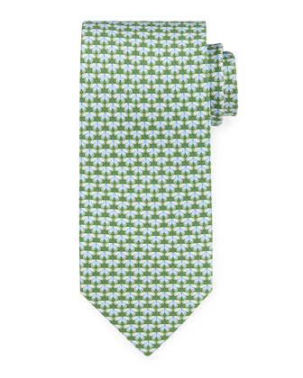 Butterfly-Print Silk Tie, Green/Blue