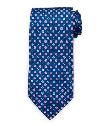 Gancini Flower Silk Tie, Blue/Pink