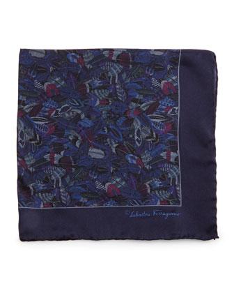 Plume-Print Silk Pocket Square, Blue