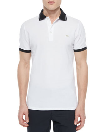 Tipped Pique Short-Sleeve Polo Shirt, White