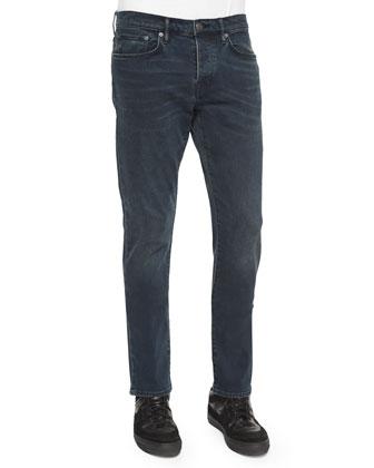 Five-Pocket Stretch-Knit Denim Jeans, Navy
