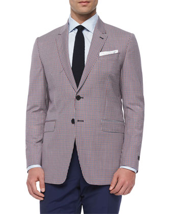 Gingham Two-Button Wool Sport Coat, Red