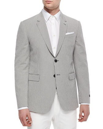 Seersucker Two-Button Suit Jacket, Gray/Ivory