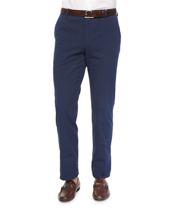 Seersucker Flat-Front Trousers, Navy