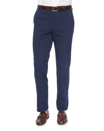 Seersucker Flat-Front Trousers, Navy