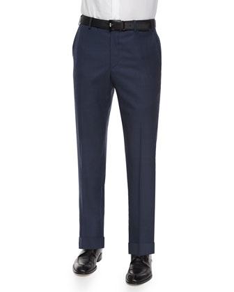 Parker Flat-Front Sharkskin Trousers, Blue