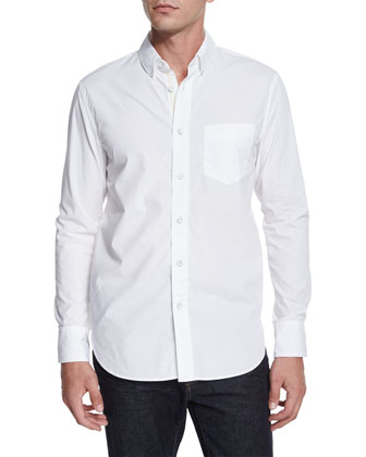 Solid Long-Sleeve Sport Shirt, White