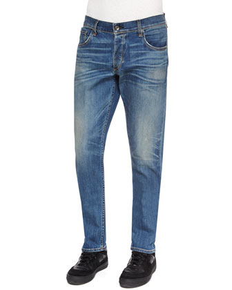 Five-Pocket Distressed Slim-Leg Jeans, Navy