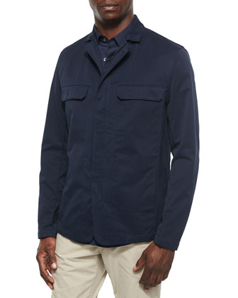 Sango Zip-Up Jacket in Sturdy Fabric, Navy