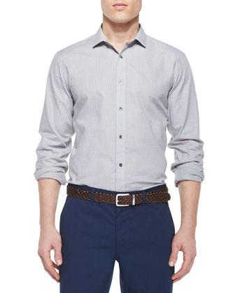 Wilten Watney Trim-Fit Check Sport Shirt, Light Gray