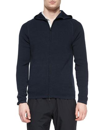 Melker Zip-Up Hooded Sweater, Navy