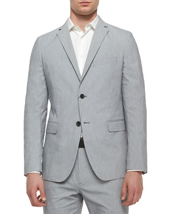Rodolf CF HL Striped Two-Button Blazer, Light Gray