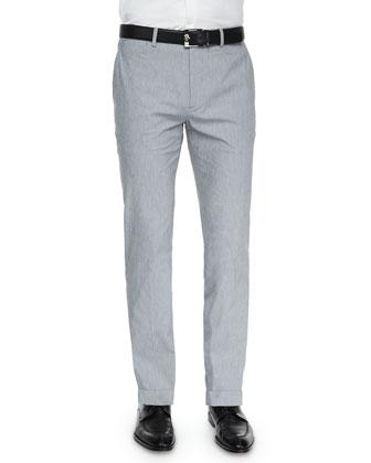 Marlo Livonia Fine-Striped Trousers, Light Gray