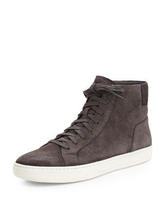 Bailey Suede Leather High-Top Sneaker, Graphite