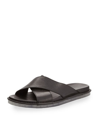 Weston Crisscross Leather Slip-On Sandal, Black