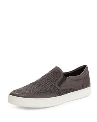 Woven Suede Slip-On Sneaker, Gray