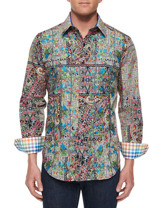 Lost City Paisley-Print Sport Shirt, Olive