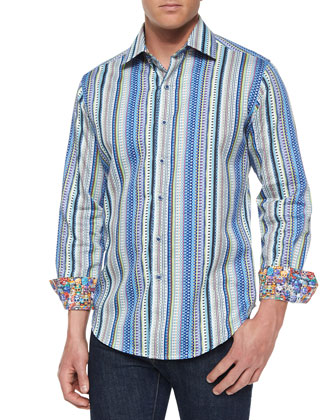 Striped Long-Sleeve Sport Shirt, Multi