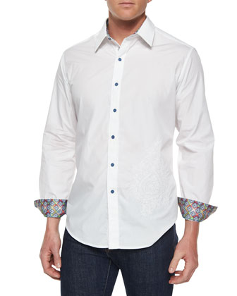 Gemini II Embroidered Solid Sport Shirt, White