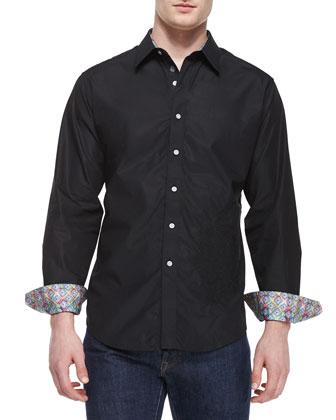 Tonal-Embroidery Sport Shirt, Black