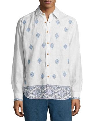 Spokane Diamond-Print Sport Shirt, White