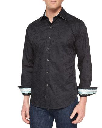 Wozi Tonal Camo-Print Sport Shirt, Black