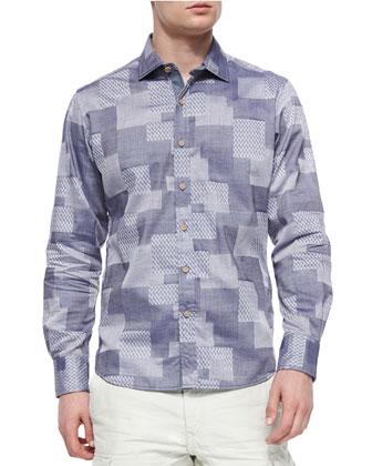 Sutherland Falls Geo-Print Sport Shirt, Blue/Multi