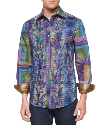 Embroidered Floral-Print Sport Shirt, Multi