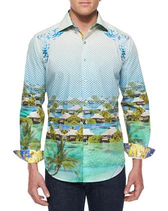 Bentoo Paradise Printed Sport Shirt, Blue