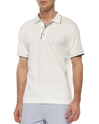 Roatan Contrast-Piped Polo Shirt, White