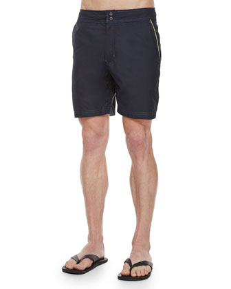 Fiji Solid Swim Trunks, Black