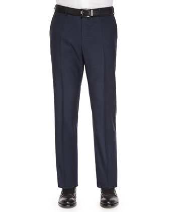 Benson Wool Trousers, Navy Sharkskin