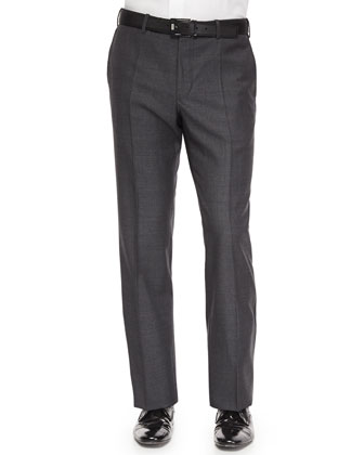 Benson Sharkskin Wool Trousers, Charcoal