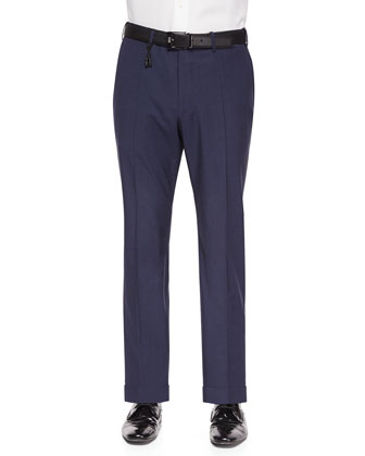 Mini-Check Wool Trousers, Blue