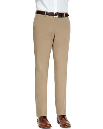 Brando Dressy Cotton Trousers, Tan