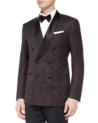 Camo-Print Double-Breasted Dinner Jacket, Burgundy