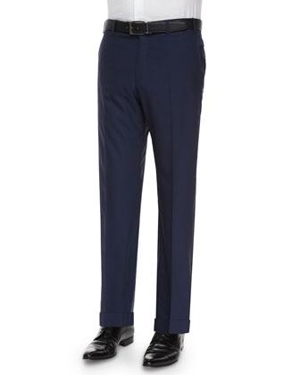 Parker Flat-Front Super 150s Trousers, Blue
