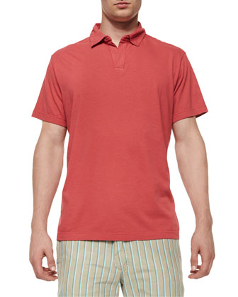 Johnny-Collar Jersey Polo Shirt, Rose