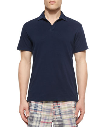 Johnny-Collar Knit Polo Shirt, Navy