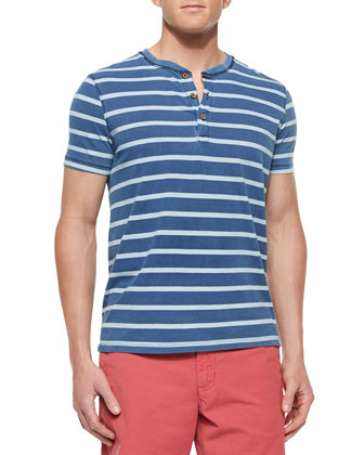 Striped Short-Sleeve Henley Tee, Light Blue