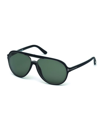 Sergio Injected Aviator Sunglasses, Matte Black