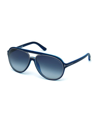 Sergio Injected Aviator Sunglasses, Matte Dark Blue