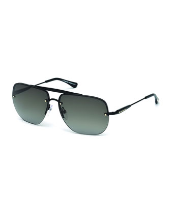 Nils Rimless Aviator Sunglasses, Black
