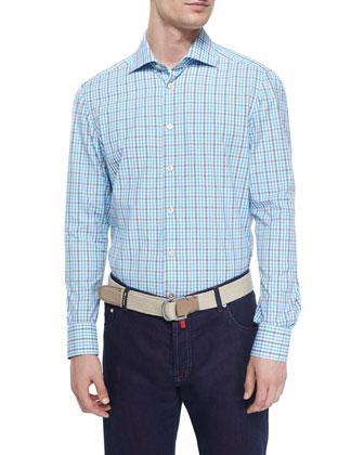 Check Woven Dress Shirt & Solaro Dark-Wash Denim Jeans